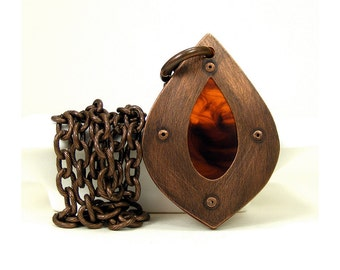 Oxidized Copper and Tortoise Shell Resin Lotus Petal Pendant Necklace - Genteel