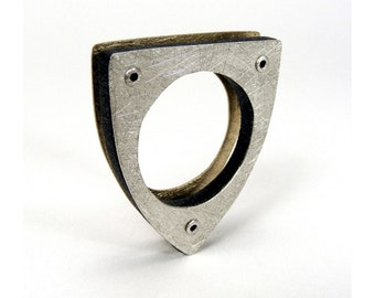 Sterling Silver, Brass and Black Resin Riveted Ring - Conjure