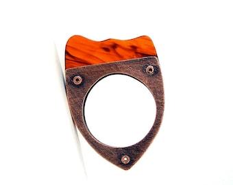Oxidized Copper & Tortoise Shell Resin Riveted Ring - Fluent