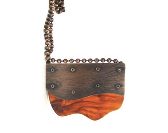 Oxidized Copper and Tortoiseshell Resin Riveted Pendant Necklace - Terrain