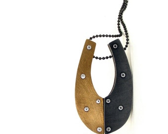 Oxidized Steel and Oxidized Brass Riveted Pendant Necklace - Impetus