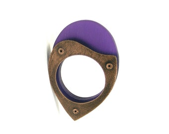Oxidized Copper and Purple Resin Riveted Ring - Homage