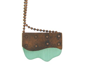 Oxidized Copper and Aqua Resin Riveted Pendant Necklace - Delineate