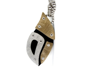 Sterling Silver, Red Brass and Resin Riveted Pendant Necklace - Innuendo