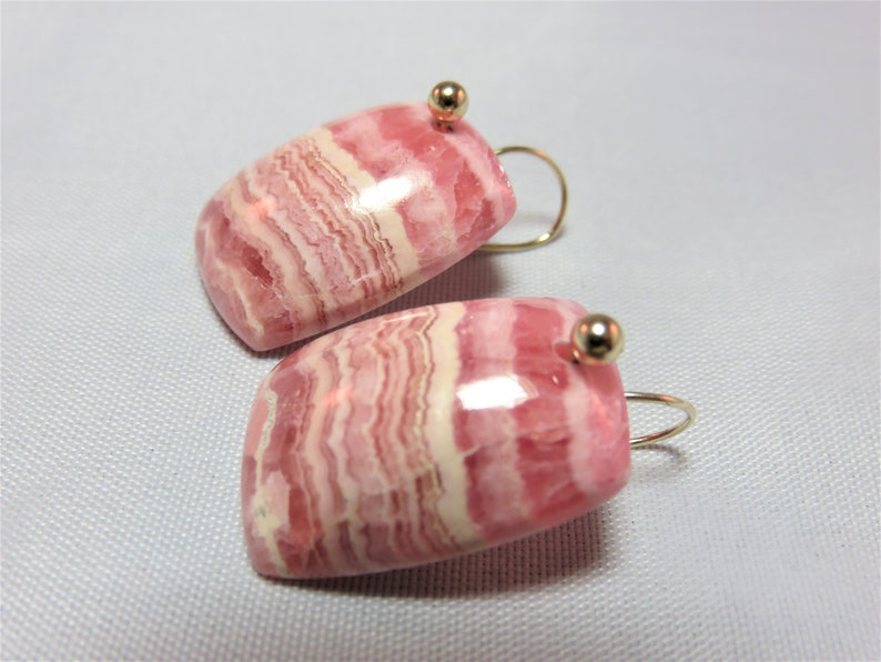 and 14K Solid Yellow Gold 3mm Ball Head Bead Earwires SALE 25/% OFF Natural  Rhodochrosite Rectangle