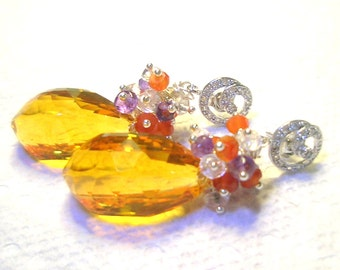 SALE 25% off Gemstone and Sterling Silver Earrings - Huge Golden Yellow Citrine Faceted Briolette (total 47.60ct), Amethyst, Topaz