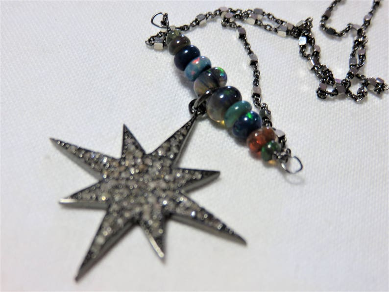 Oxidized Sterling Silver Chain and Black Opal Beads Necklace SALE 25/% OFF Oxidized Sterling Silver Diamonds Star Pendant