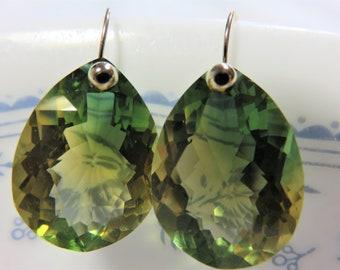 Bi-Color Ametrine (31.15 ct) Rose Cut Pear Shape Gemstone, and 14K Solid Yellow Gold 3mm Ball Head Earwires