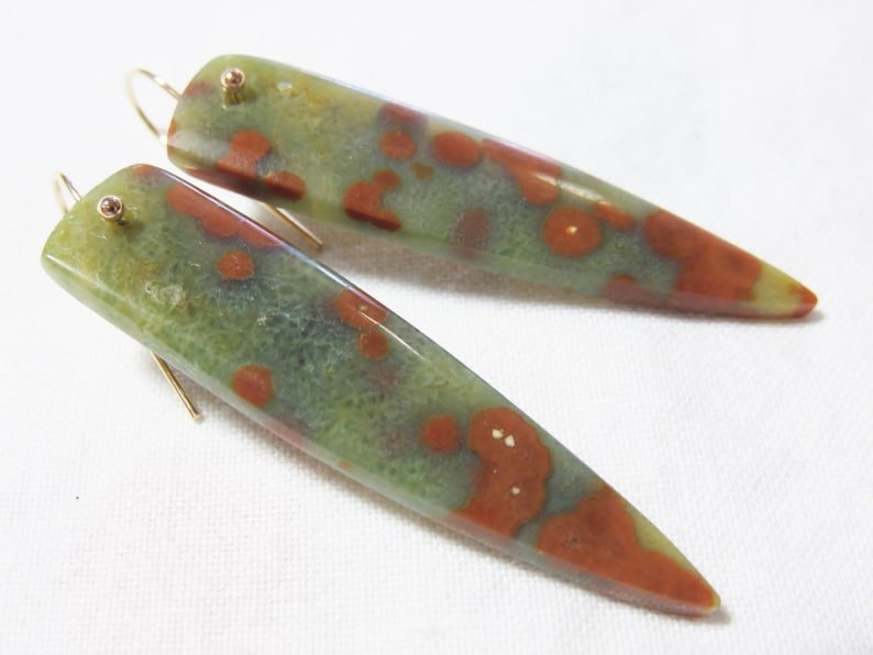 SALE 25/% OFF Natural Smooth Ocean Jasper Long Briolettes and 14K Solid Yellow Gold Earwires