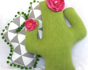 Green denim cactus pillow, LAST one, saguaro cushion with handmade silky flowers, succulent southwest decor for nursery or dorm, ID# CP22