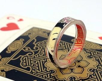 Japanese Piatnik Playing Cards Modern Vintage Resin Ring
