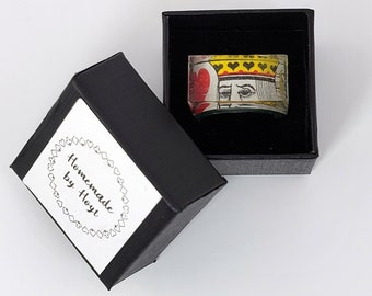 King of Hearts Playing Cards Ring   A cool small gift for card players. Get a unique upcycled modern vintage resin ring today! FREE SHIPPING
