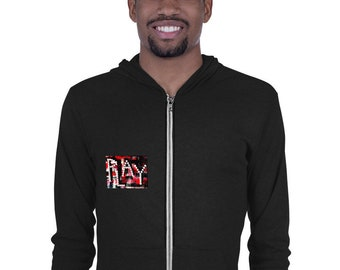 PLAY Gaming Art Zip Hoodie | A Collage Art with Poker Dice Design That Makes a Great Poker Player Gift or Gambler Gift (Red/White/Black)