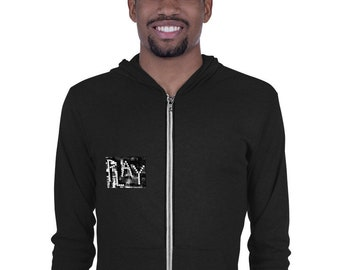 PLAY Gaming Art Zip Hoodie | A Collage Art with Poker Dice Design That Makes a Great Poker Player Gift or Gambler Gift (Black and White)