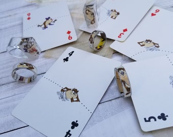 Tazmanian Devil Playing Cards Rings make a cool small gift. Get a one-of-a-kind upcycled modern vintage resin ring today! FREE SHIPPING