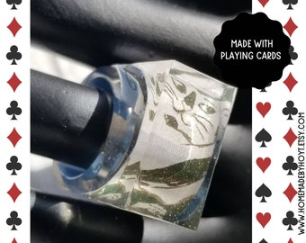 Whimsical Cat Art Playing Card Rings make a purrfect gift. Get one of these lucky charm resin rings (full of meow love) today!
