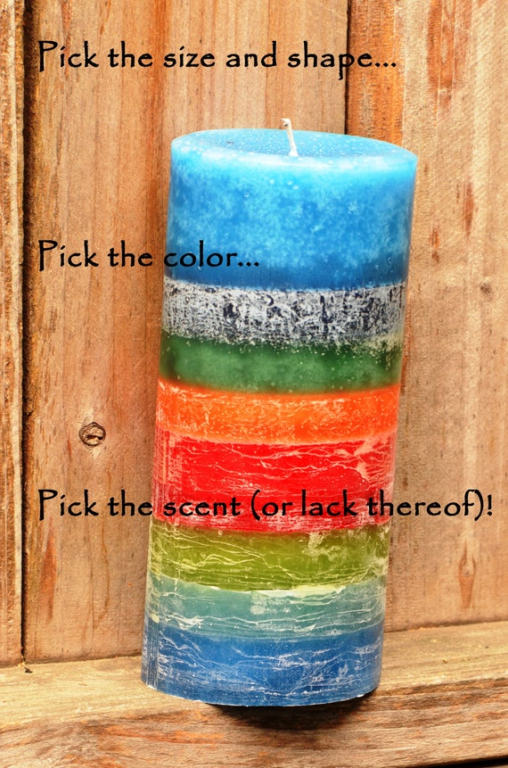 """THREE LAYER 4/""""x9/"""" /& 4x4/"""" PILLAR CANDLES-HIGHLY SCENTED-U PICK COLORS /& FRAGRANCE"""