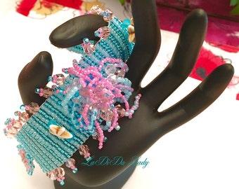 Beach Beaded Bracelet Cuff Sea Urchin Beach Wedding Aqua Pink Caterpillar Fringe Swarovski Beach Sealife Jewelry Starfish Handmade and OOAK