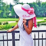 Personalized Bridal Wedding Floppy Hat Bridal Shower Hat Honeymoon Hat Customized Statement Hat Embroidered