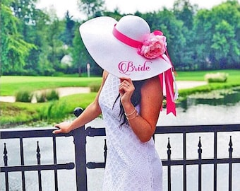 Personalized Bridal Wedding Floppy Hat Bridal Shower Hat Honeymoon Hat  Customized Statement Hat Embroidered c7379e7c0846