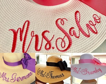 Personalized Floppy Hat Mrs Hat Name Hat Honeymoon Bridal Hat Wedding, or Bridesmaids, Beach, Derby, Cup Race, Statement