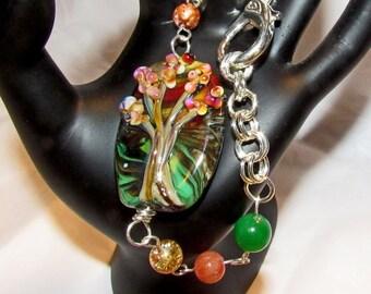 Tree of Life Bracelet Autumn Colors OOAK Footprints Handmade Autumn Leaves