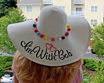Personalized Floppy Hat Carolina Cup Phrase Mrs. Wedding Beach, Custom, Honeymoon or Bridesmaids, Beach, Derby, Cup Race, YOU NAME IT