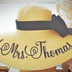 Personalized Floppy Hat Mrs Hat Name Hat Honeymoon Bridal Soon to Be The Future Hat Floppy Straw Wedding Bridesmaids, Beach, Derby, Cup Race