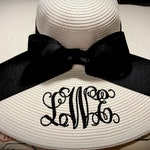 Monogrammed Personalized floppy hat, Bride, Bridesmaid, Derby, Bachelorette, Honeymoon, Beach, Vacation Hat