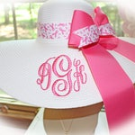 Personalized Breast Cancer Floppy Hat White Straw Hat Monogrammed Breast Cancer Ribbon and Solid Pink Hat Band Ribbons