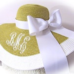 Monogrammed  Natural & White, Navy, Mint, Yellow, Coral Lime Floppy Hat Cup Race, Bride, Shower, Honeymoon,  Bridesmaids, Sunbonnet, Derby