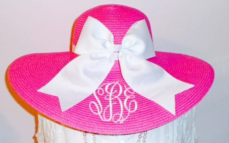 Monogrammed Pink Floppy Hat Wide Brimmed for Wedding image 0