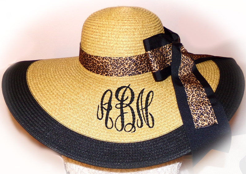 Monogrammed Natural Floppy Hat Leopard NEW ITEM Gorgeous image 0