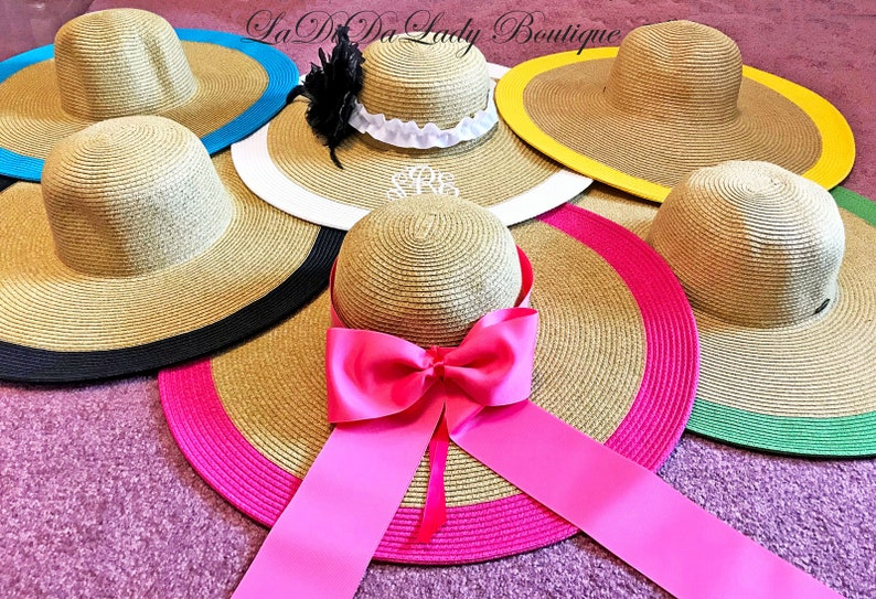 Personalized Floppy Hat Derby Hat Bride or Bridal Shower image 0