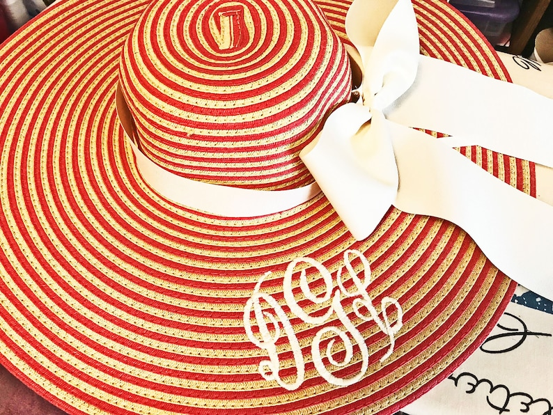 Monogrammed Coral and Natural Stripe Floppy Hat Wide Brimmed image 0