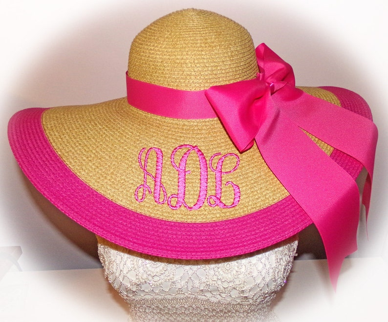 Monogrammed Natural Floppy Hat HOT PINK  Derby Hat Beach image 0