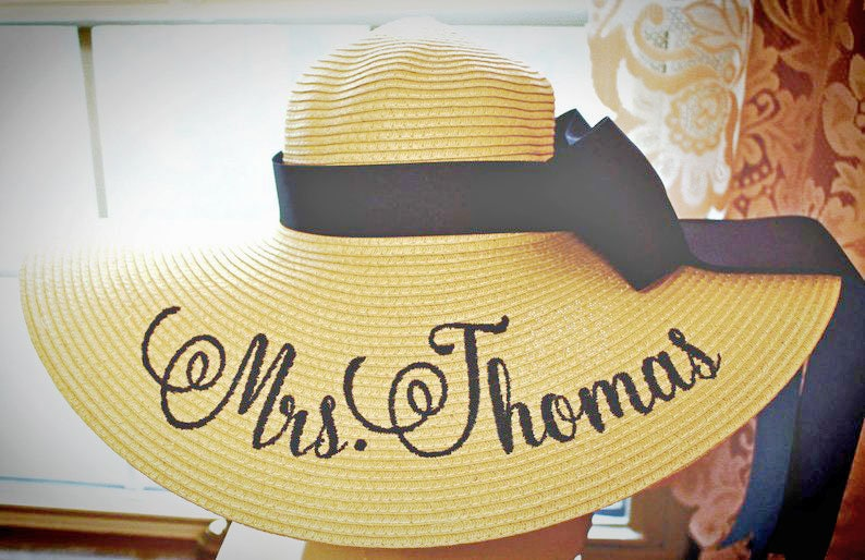Personalized Floppy Hat Mrs Hat Name Hat Honeymoon Bridal Soon Mrs. + Band + Bow