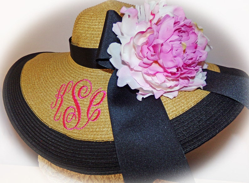 Monogrammed Natural & Black Floppy Hat NEW ITEM Bride Bride image 0