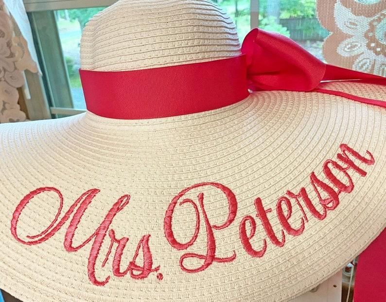 Personalized Floppy Hat Mrs Hat Name Hat Honeymoon Bridal Soon image 0