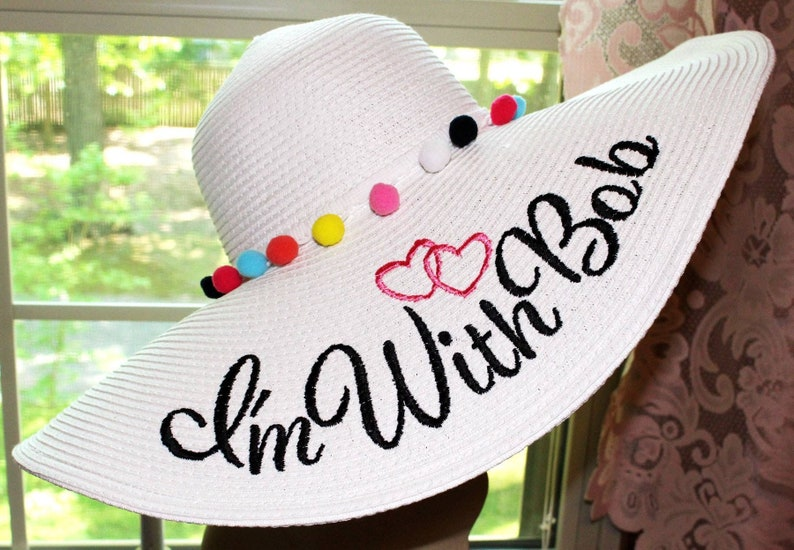 Personalized Floppy Phrase Hat Colonial Downs Hat Honeymoon image 0