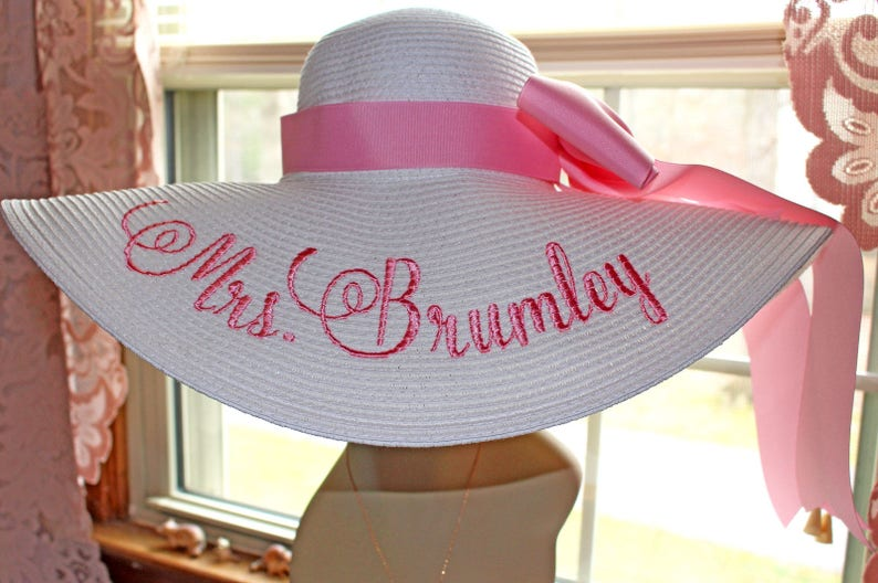 Mrs Hat Name Hat Honeymoon Bridal Hat Floppy Straw Natural Band & Bow