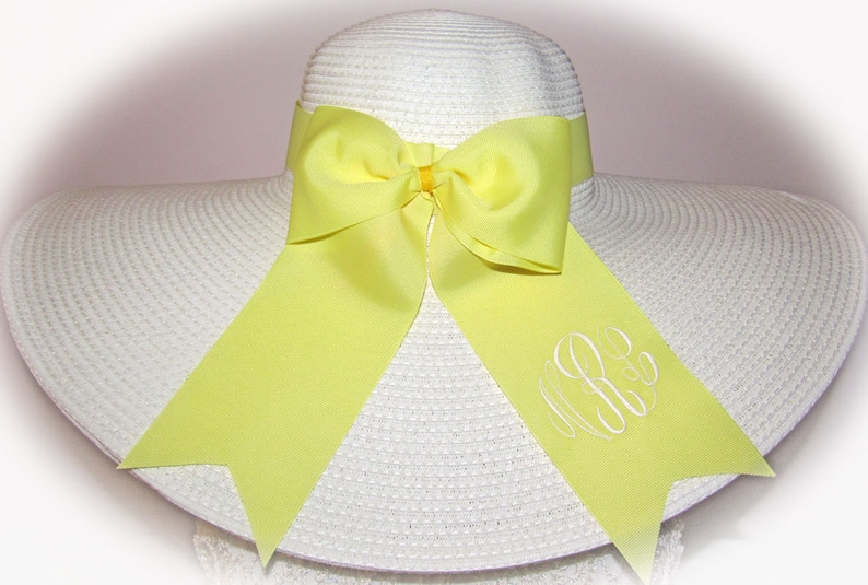 Monogrammed  Personalized Floppy Wide Brimmed Hat Sash Ribbon image 0