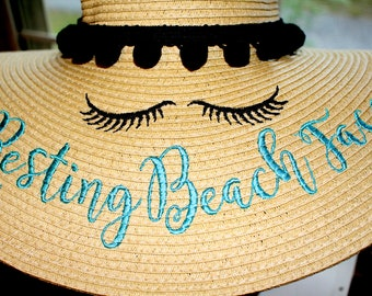 Resting Beach Face Floppy Hat Resting Vacay Face Embroidered Sun Hat  Colors Available !