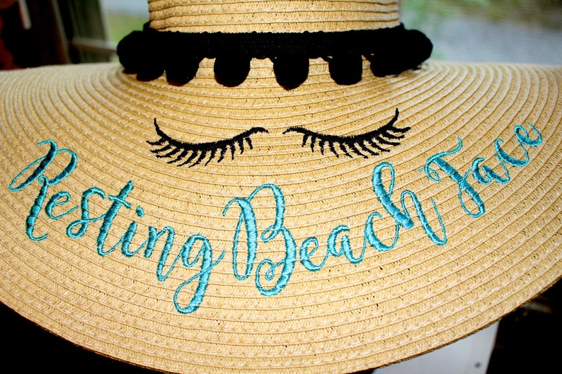 Resting Beach Face Floppy Hat Resting Vacay Face Embroidered Resting Beach Face