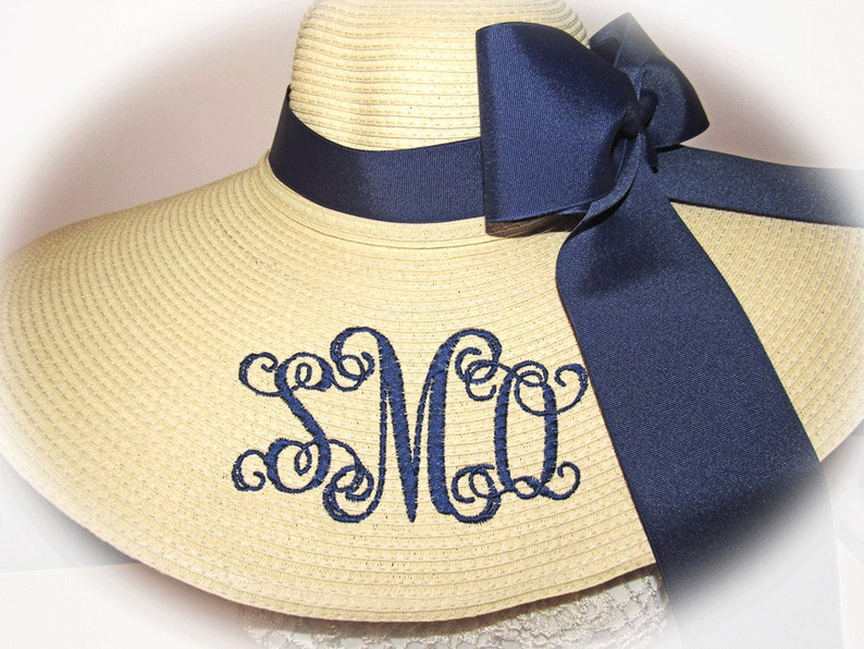 Monogrammed Natural Floppy Hat Foxfield  Carolina Cup image 0
