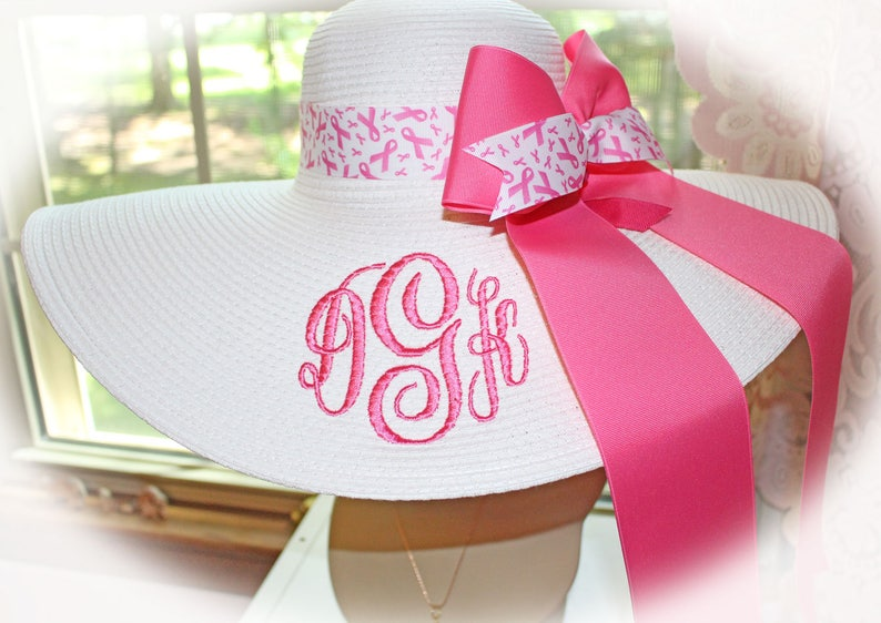 Breast Cancer Floppy Hat White Hat Monogrammed Breast Cancer image 0