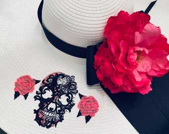 Goth Skull Floppy Hat OOAK Custom Skull and Roses Floppy Straw Hat Embroidered One of a Kind New Orleans Style Mardi Gras