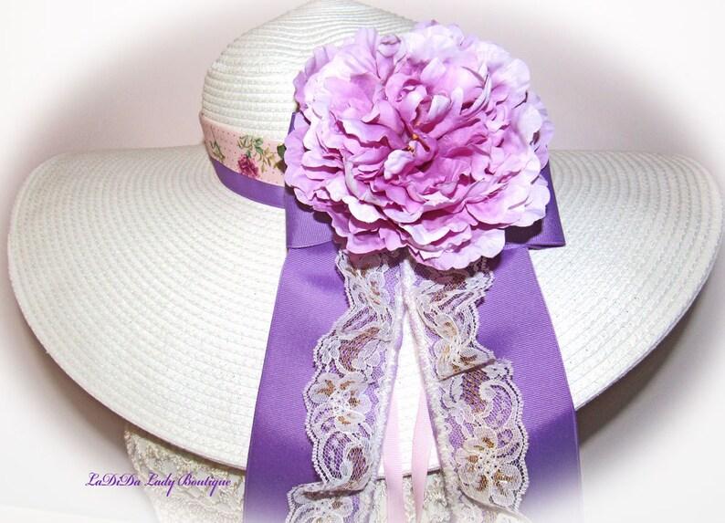 Monogrammed Shabby Chic Floppy Hat Lavender Purple Custom image 0