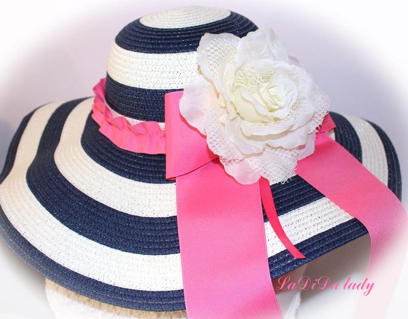 Monogrammed Floppy Hats Navy or Black & White Stripe  Bride image 0