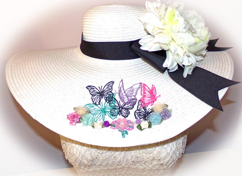 Butterfly Garden Floppy Hat Custom Easter You Choose Band image 0